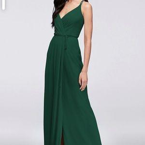 David Bridals Wrap dress. worn once Jupiter green.